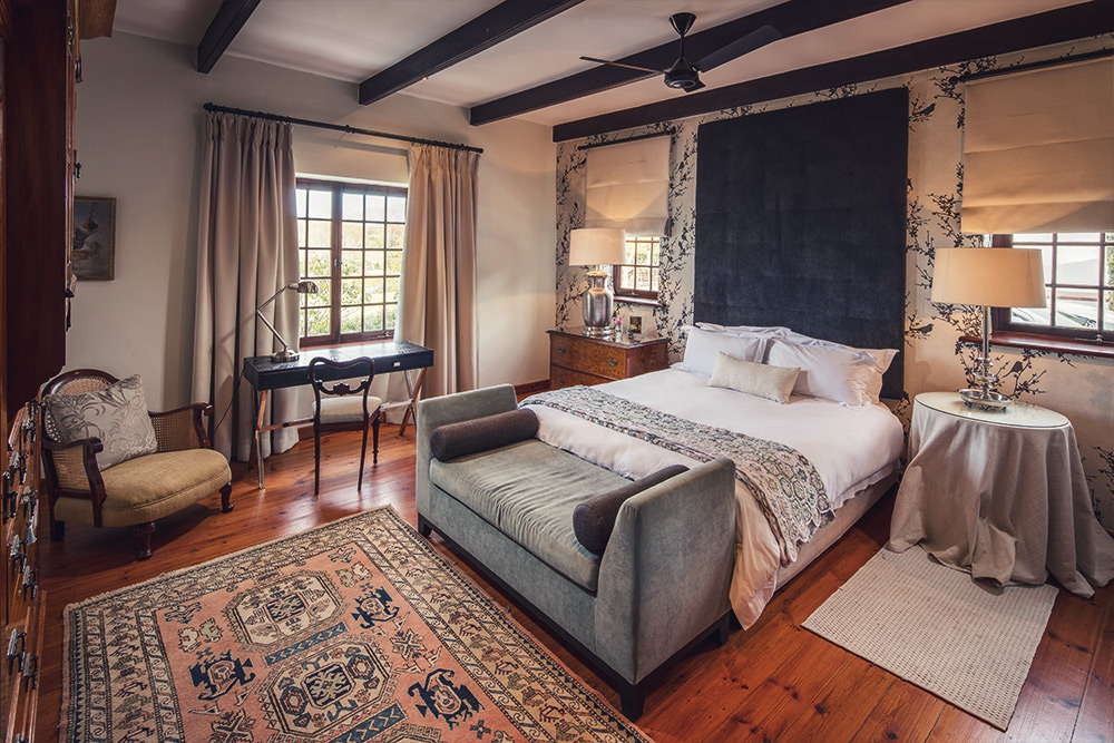 main bedroom at the manor, accommodation in franschhoek