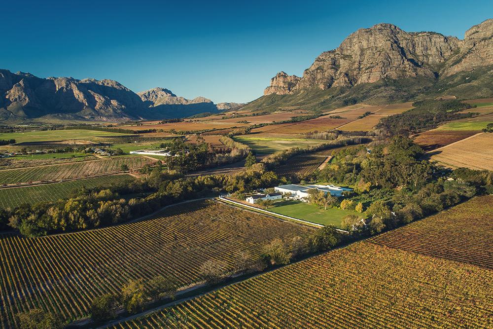 aerial view of plaisir de merle wine estate in franschhoek