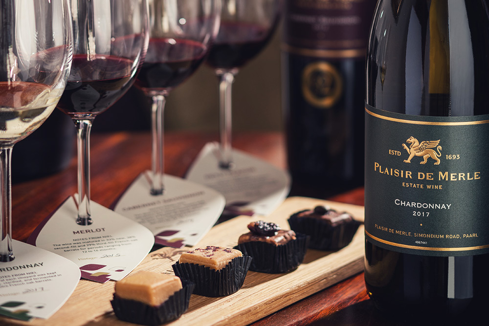 wine tasting and pairing with fudge in franschhoek